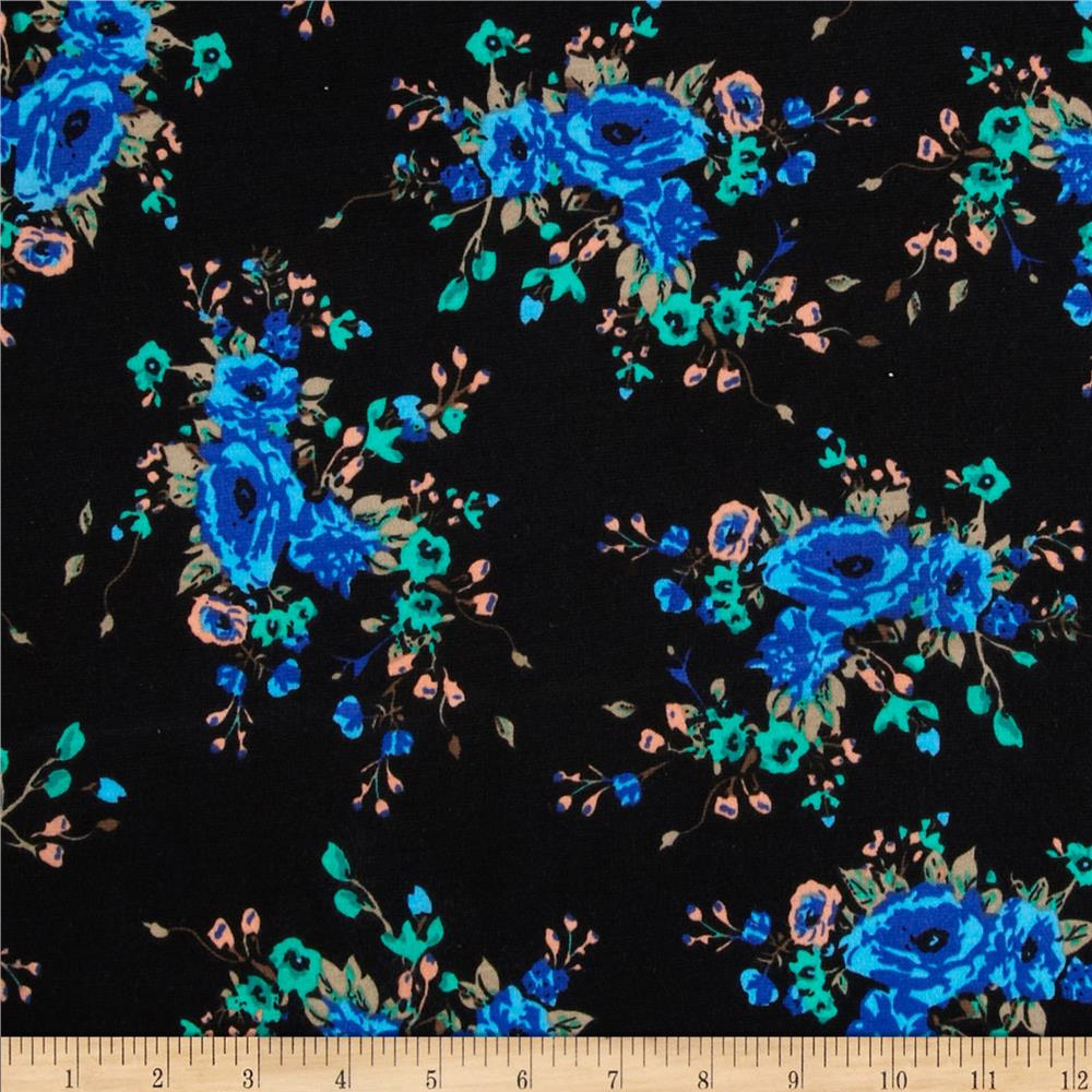 Stretch Ponte de Roma Knit Florals Black/Blue