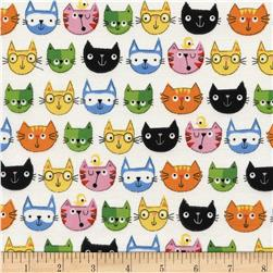 Timeless Treasures Cat Heads Multi