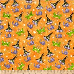 Toil & Trouble Cats/Frogs Allover Orange