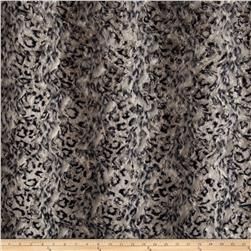 Luxury Faux Fur Snow Leopard Fur Black/Grey Fabric