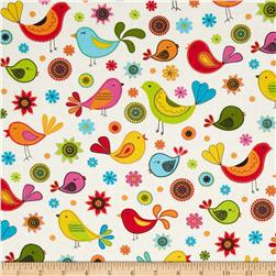 Timeless Treasures Folk Song Folk Bird Toss Cream