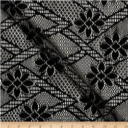 Crochet Lace Diamond Floral Black