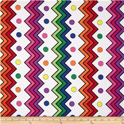Jungle Things Rainbow Chevron White Fabric