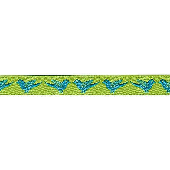 "3/8"" Sue Spargo Ribbon Tiny Birds Turquoise/Lime"