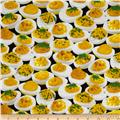 Timeless Treasures Food Deviled Eggs Black