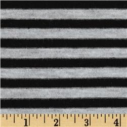 Designer Yarn Dyed Jersey Knit Stripes Black/Grey