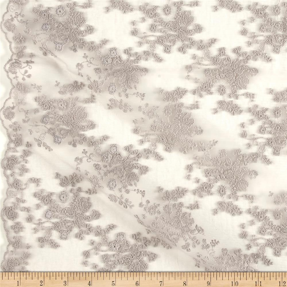 Telio Coralie Embroidered Mesh Lace Grey Fabric