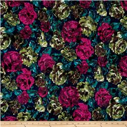Italian Floral Felt Impression Pink/Green/Blue/Black
