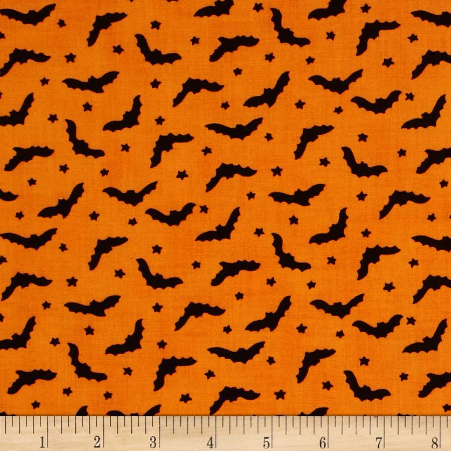 Moda Moonlight Manor Bats and Stars Pumpkin Orange