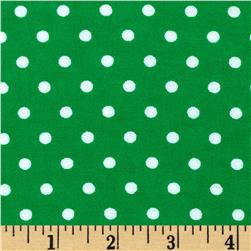 Aunt Polly's Flannel Small Polka Dots Green/White