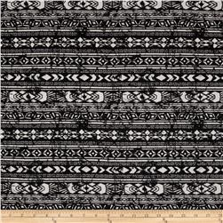 Cotton Spandex Jersey Knit Aztec Black/White