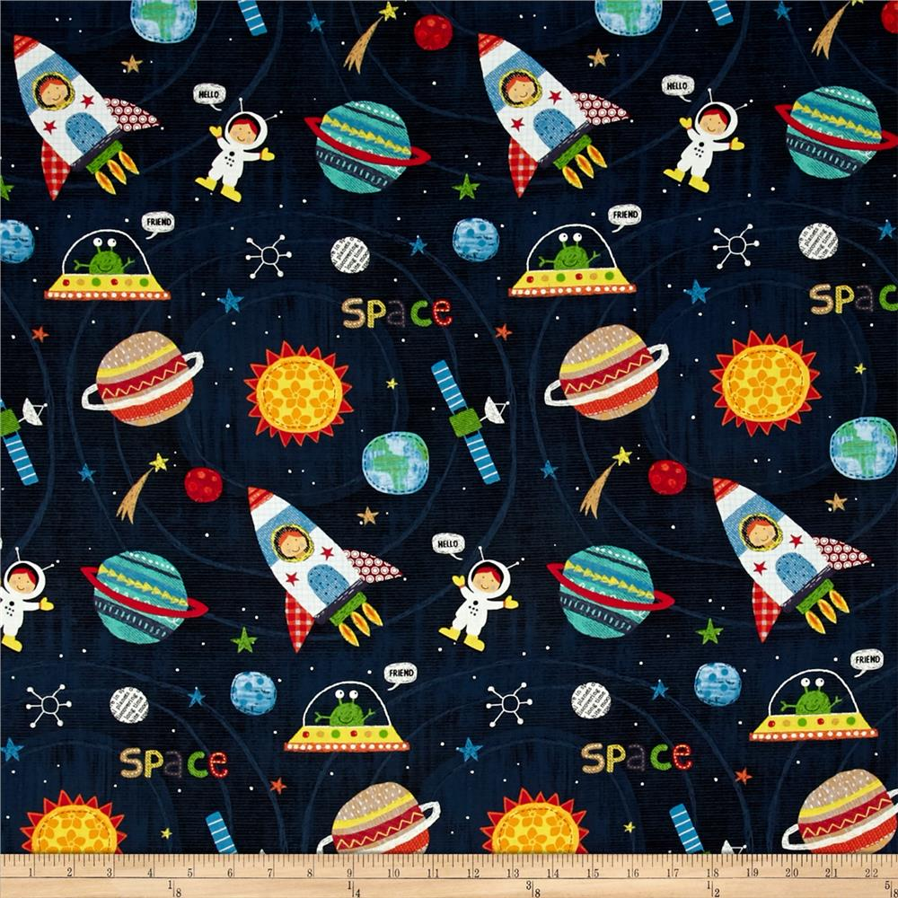 Alexander henry monkey 39 s business my space friend black for Space fabric quilt