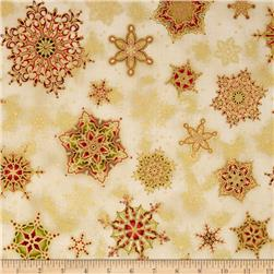 Robert Kaufman Holiday Flourish Metallic Snowflakes Country