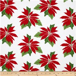 Where's Rudolph? Poinsettia White/Red Fabric