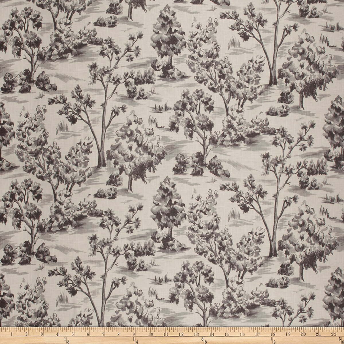 French General Arbe Toile Linen Blend Coal Fabric