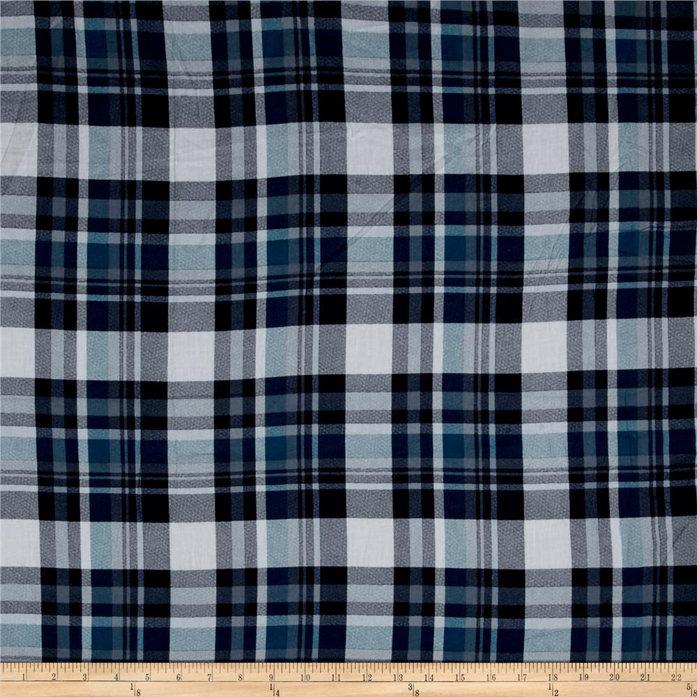 Cotton Lawn Plaids Turquoise/Navy Fabric By The Yard