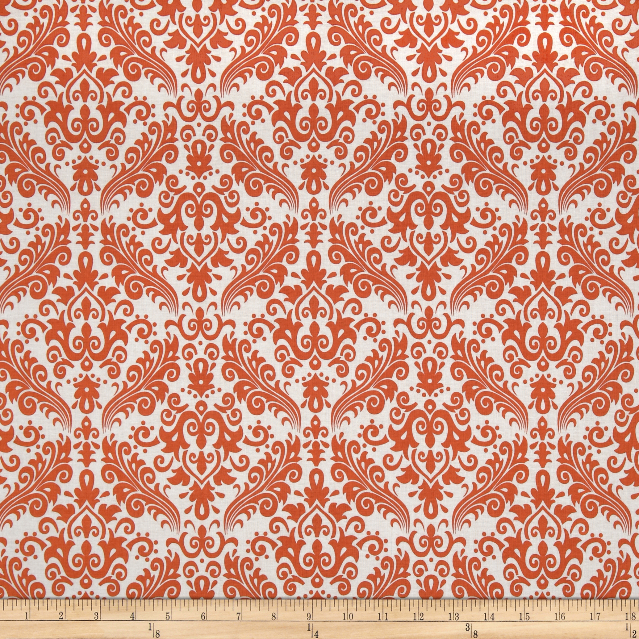 Riley Blake Medium Damask White/Orange Fabric