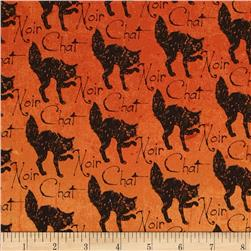 Timeless Treasures Wicked Black Cats Orange