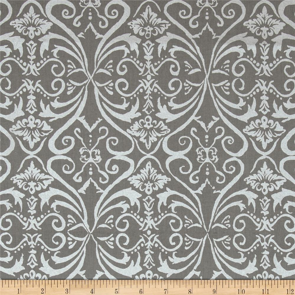 Shimmer Metallic Damask Pewter
