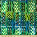 Indian Batik Metallic Tribal Stripe Blue/Green