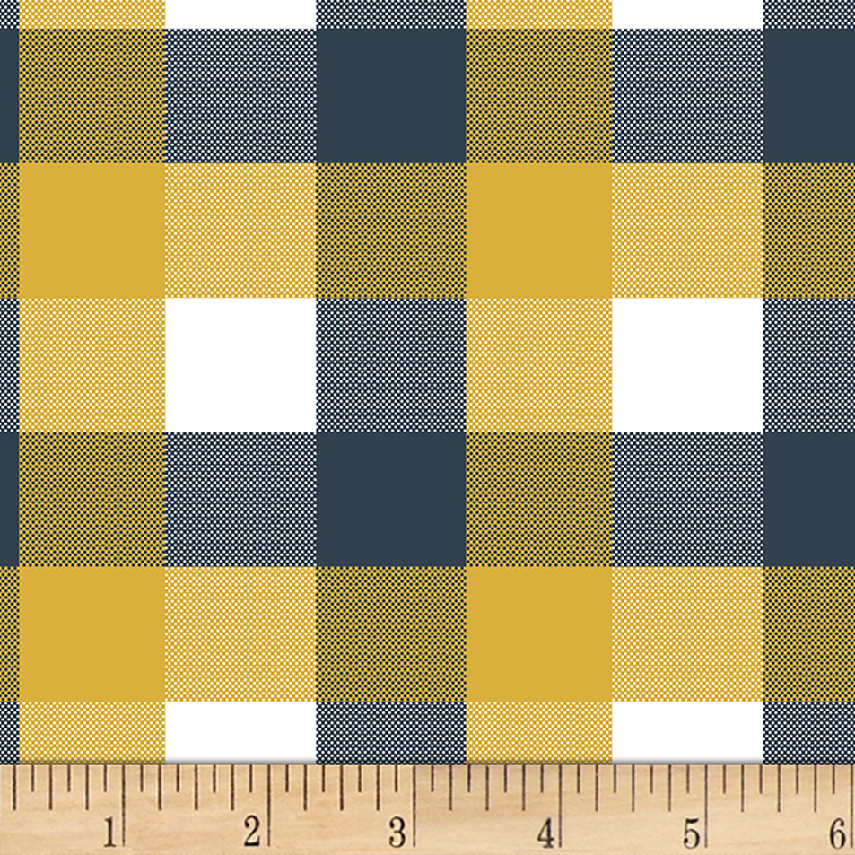 Bolt By Girl Charlee Homestead Life Jersey Knit Brienne Plaid Mustard/blue/white Fabric