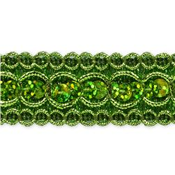 "7/8"" Trish Sequin Metallic Braid Trim Roll Lime"