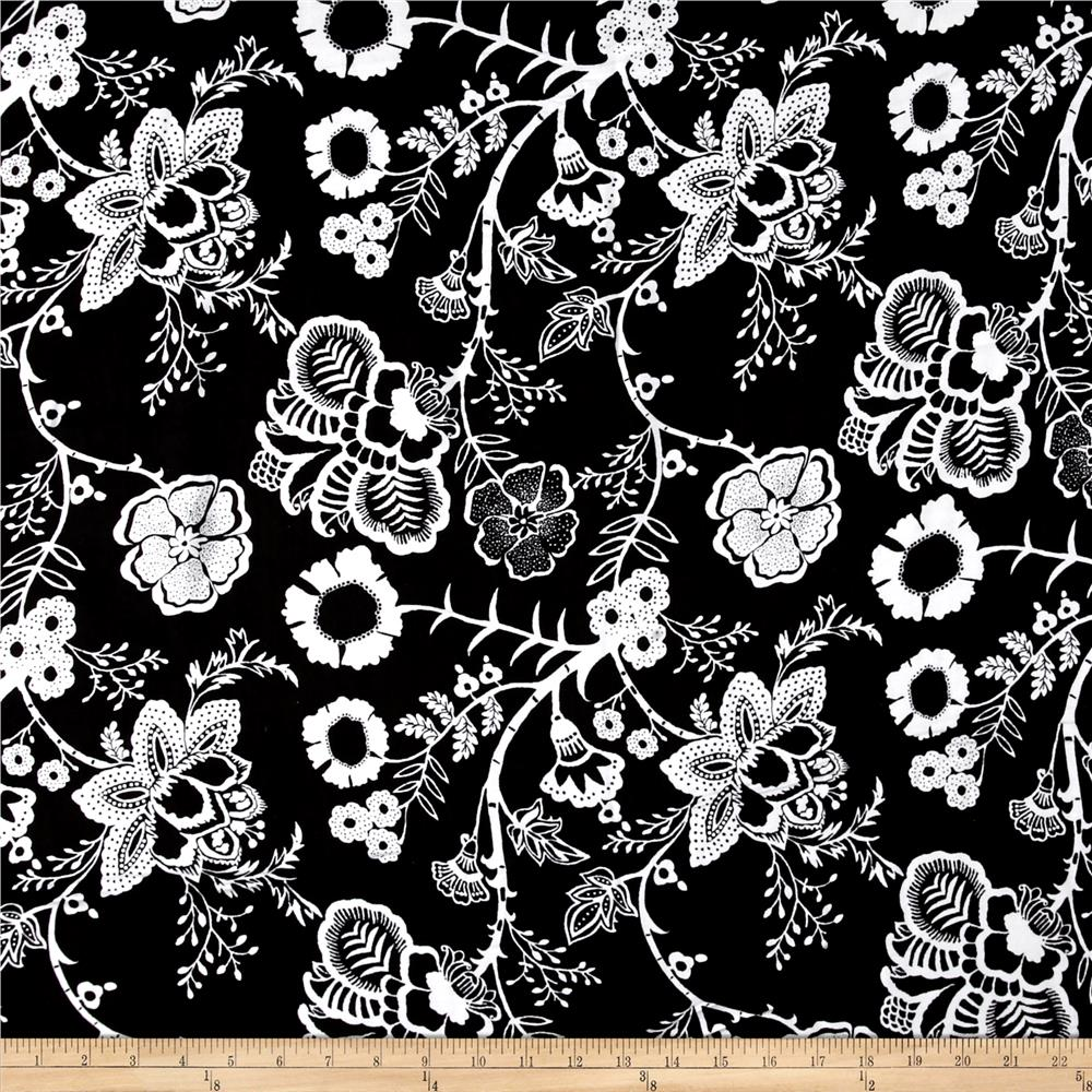 Royal Blooms Rayon Challis Black/Ivory