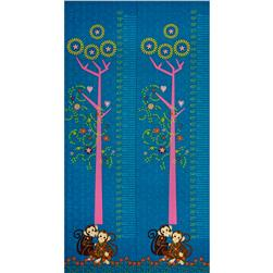 Mystic Forest Panel Monkeys Under Tree Growth Chart Blue