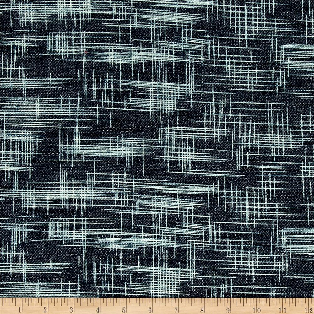 Art Gallery Crosshatch Textured Denim Rainy Night