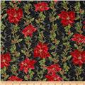 Ribbons & Holly Poinsettia Metallic Black