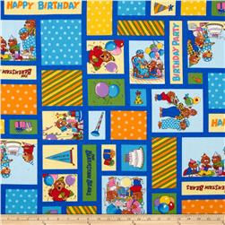 Moda Beary Happy Birthday Patchwork Blue