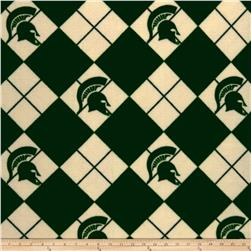 Collegiate Fleece Michigan State Argyle Fabric