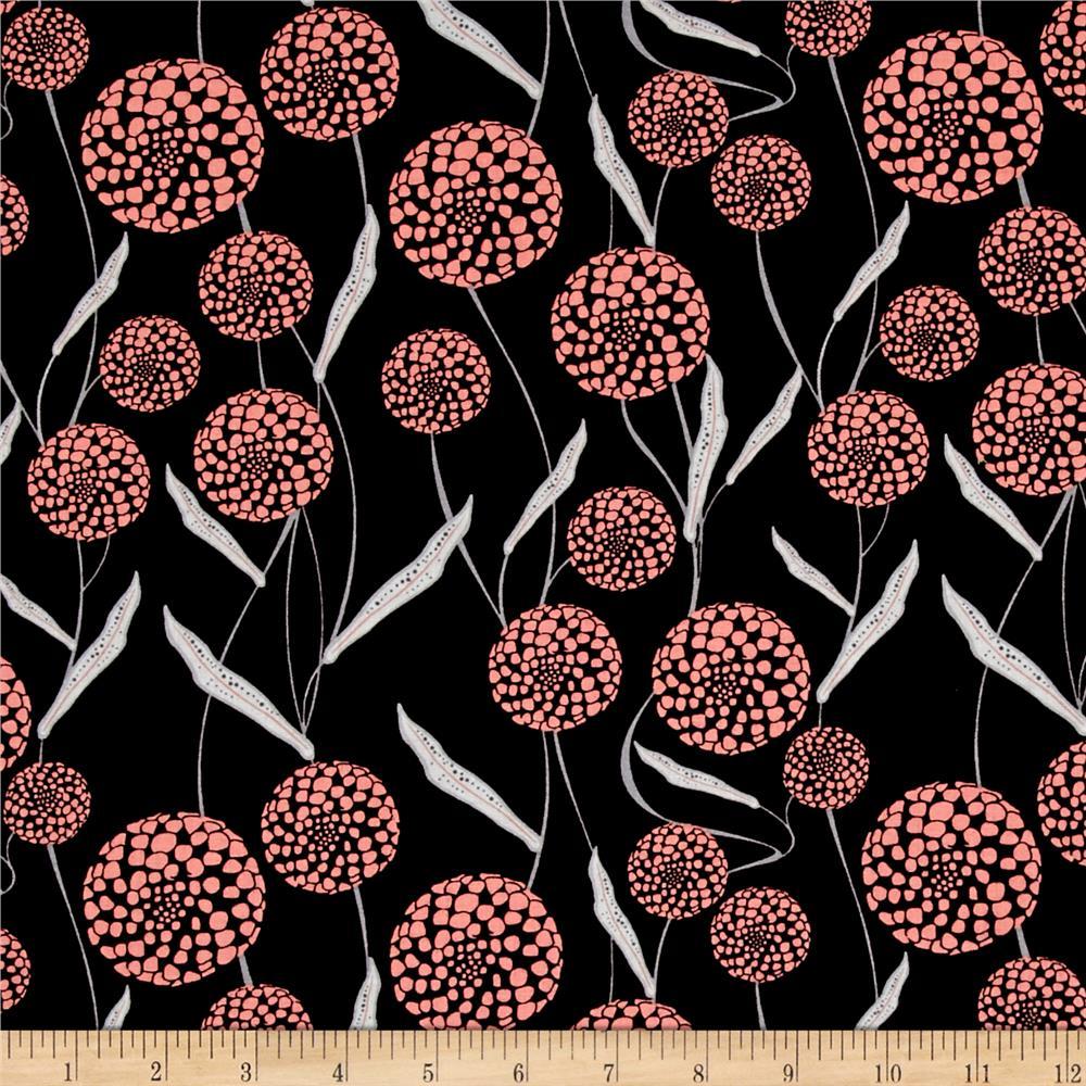 Mod About You Queen Anne's Lace Black/Coral Fabric
