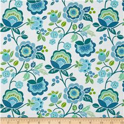 Intrigue Floral Garden Teal/White