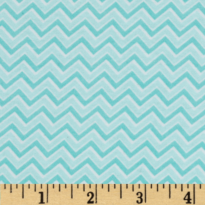Alpine Flannel Basics Chevron Aqua Fabric