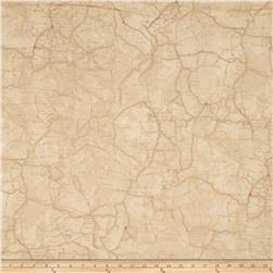 Classic Indian Map Tan Fabric