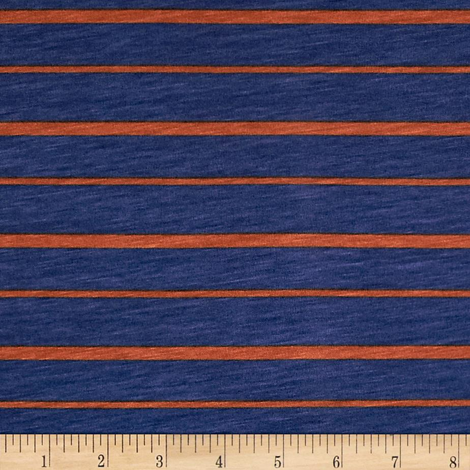 Stretch Rayon Jersey Knit Stripe Blue/Orange
