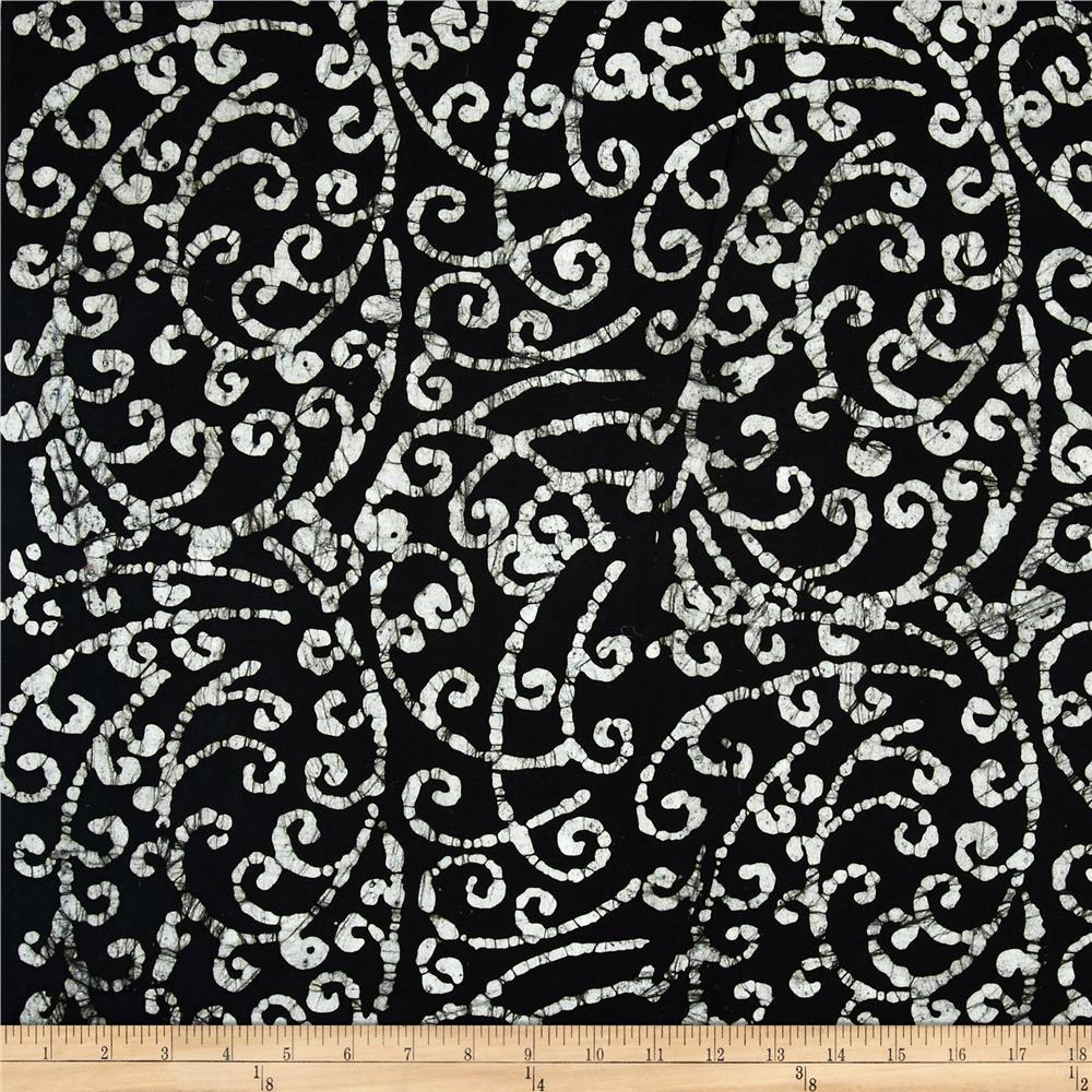 Indian Batiks Fancy Vine Black/White