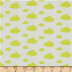 Dreamy Clouds Flannel White/Sunshine Yellow