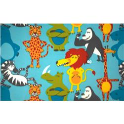 Wintry Fleece Jungle Animals Blue