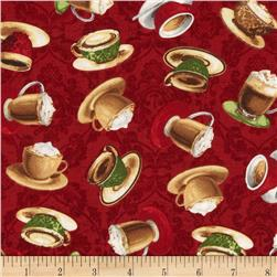 Coffee Moment Tossed Coffee Cups Red Fabric