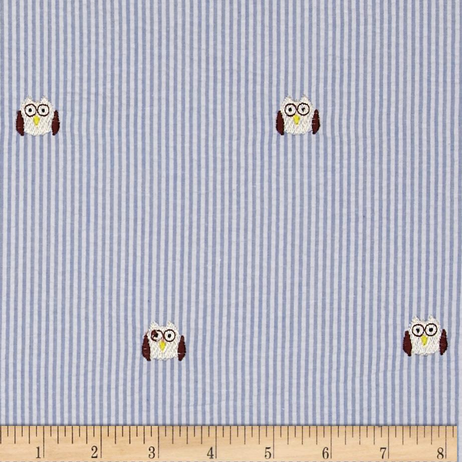Embroidered Seersucker Light Blue/White Owl Tan