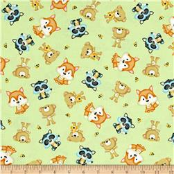 Woodland Cuties Tossed Woodland Animals Light Green