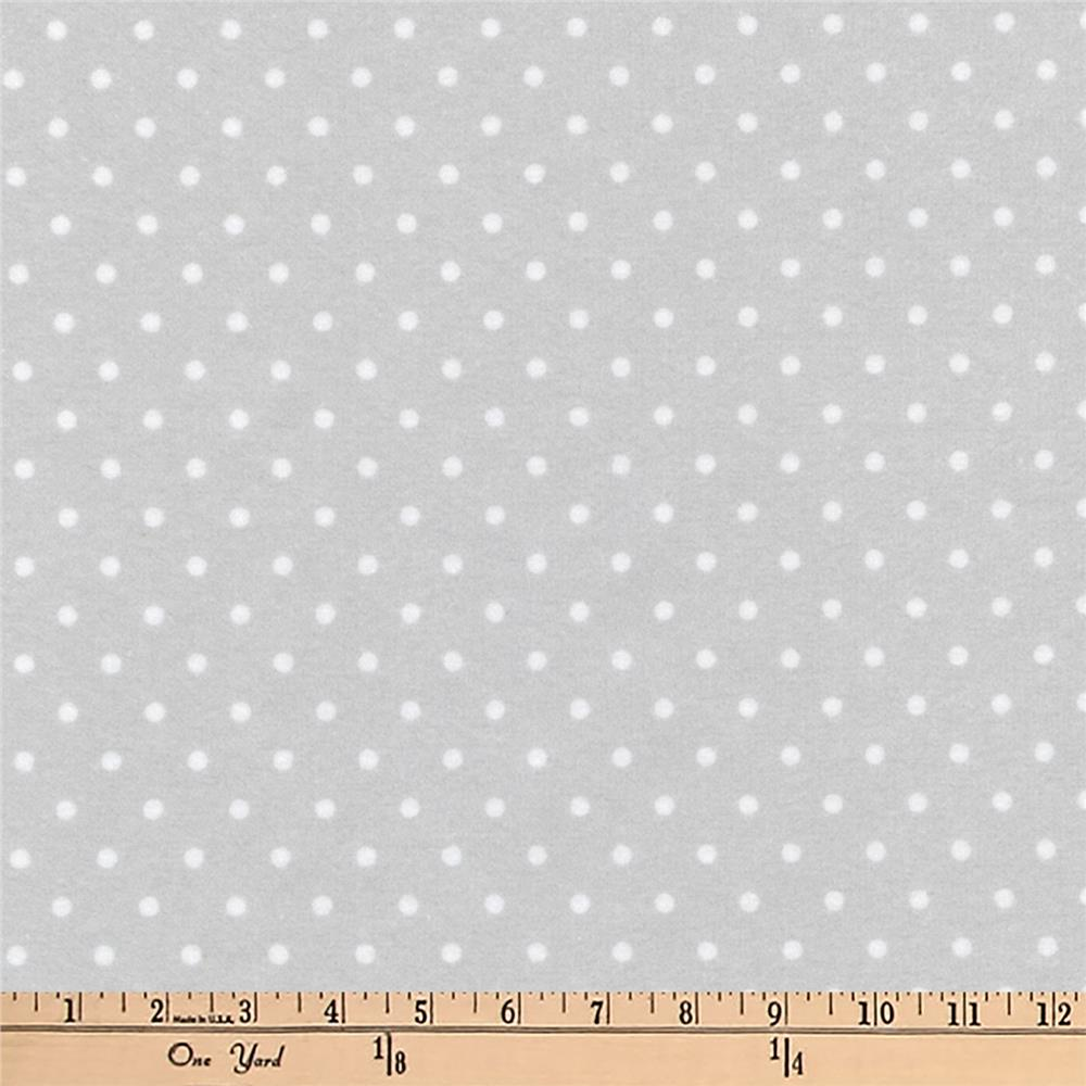 Kaufman Cozy Cotton Flannel Dots Silver Fabric