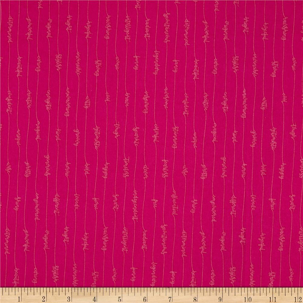 Windham Fabrics Good Vibes Only Cursive Ruby