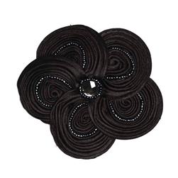 Victoria 3-1/2'' Silky Ribbon Brooch Black