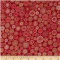 Winter's Grandeur Metallic Small Medallions Crimson
