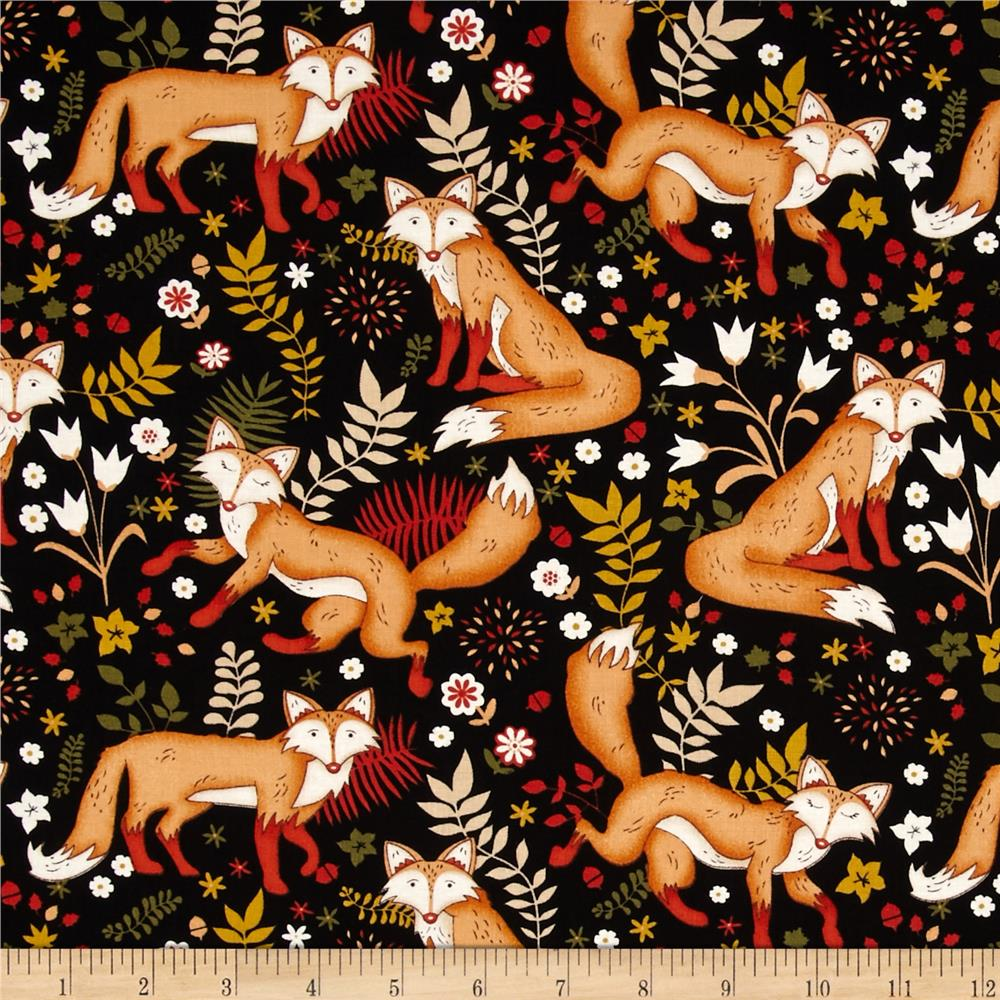 Sly as a fox playful fox black discount designer fabric for Nursery fabric sale