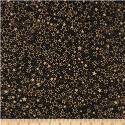 Island Batik Metallic Stars Black/Gold
