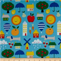 Cloud 9 Organic Corduroy Small World Blue
